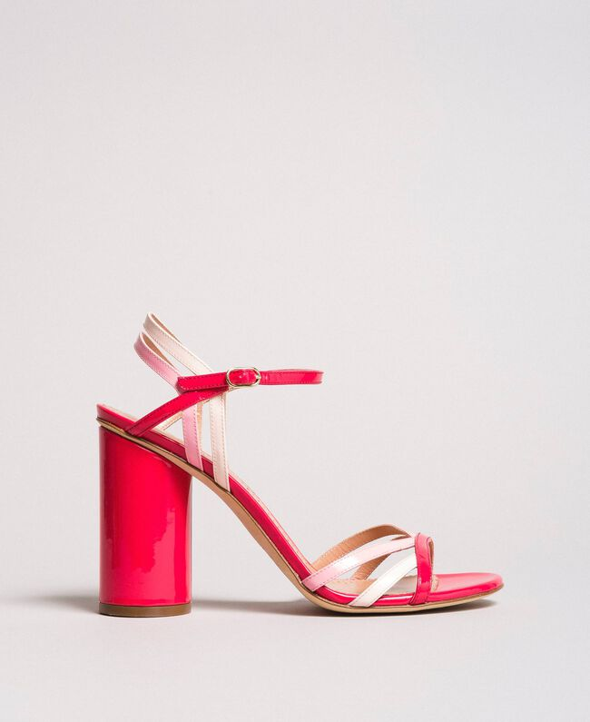 Patent leather sandals with strap Bud Pink Woman 191TCP014-03