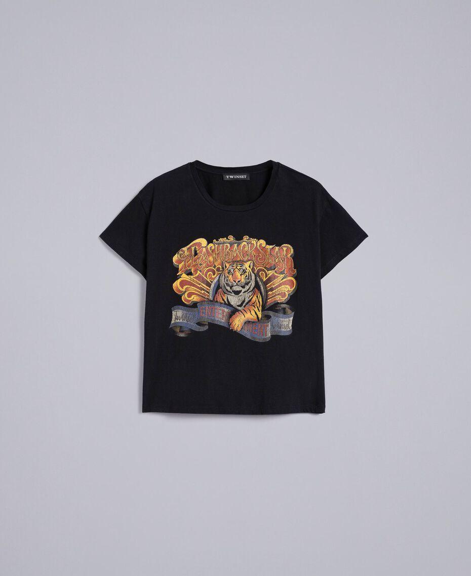 T-shirt en coton avec imprimé Noir Femme TA82ZP-0S