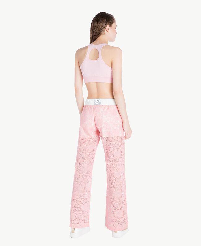 Hose aus Spitze Zweifarbig Pinkie / Optisches Weiß Frau LS89CC-04