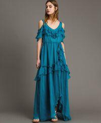Silk crepon long dress with flounces