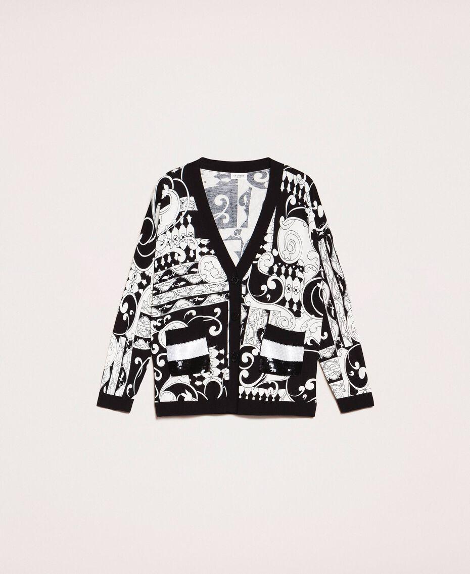 Cardigan imprimé avec sequins Imprimé Liberty Blanc / Noir Femme 201ST3162-0S