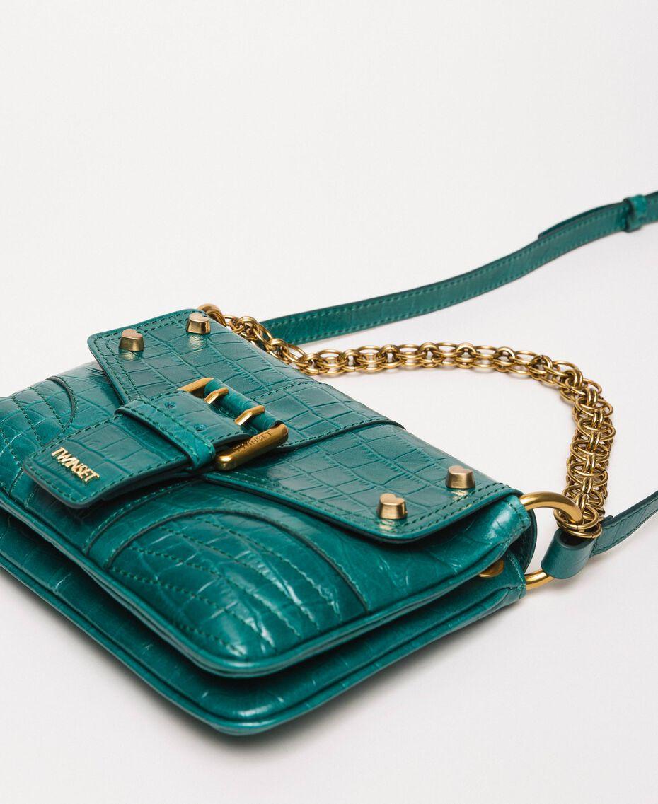 "Small Rebel shoulder bag with croc print ""Python"" Green Croc Print Woman 201TA7111-02"