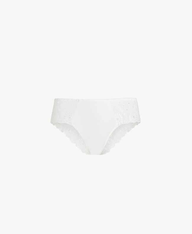 Broderie anglaise Brazilian briefs Ivory Woman LS8GYY-01