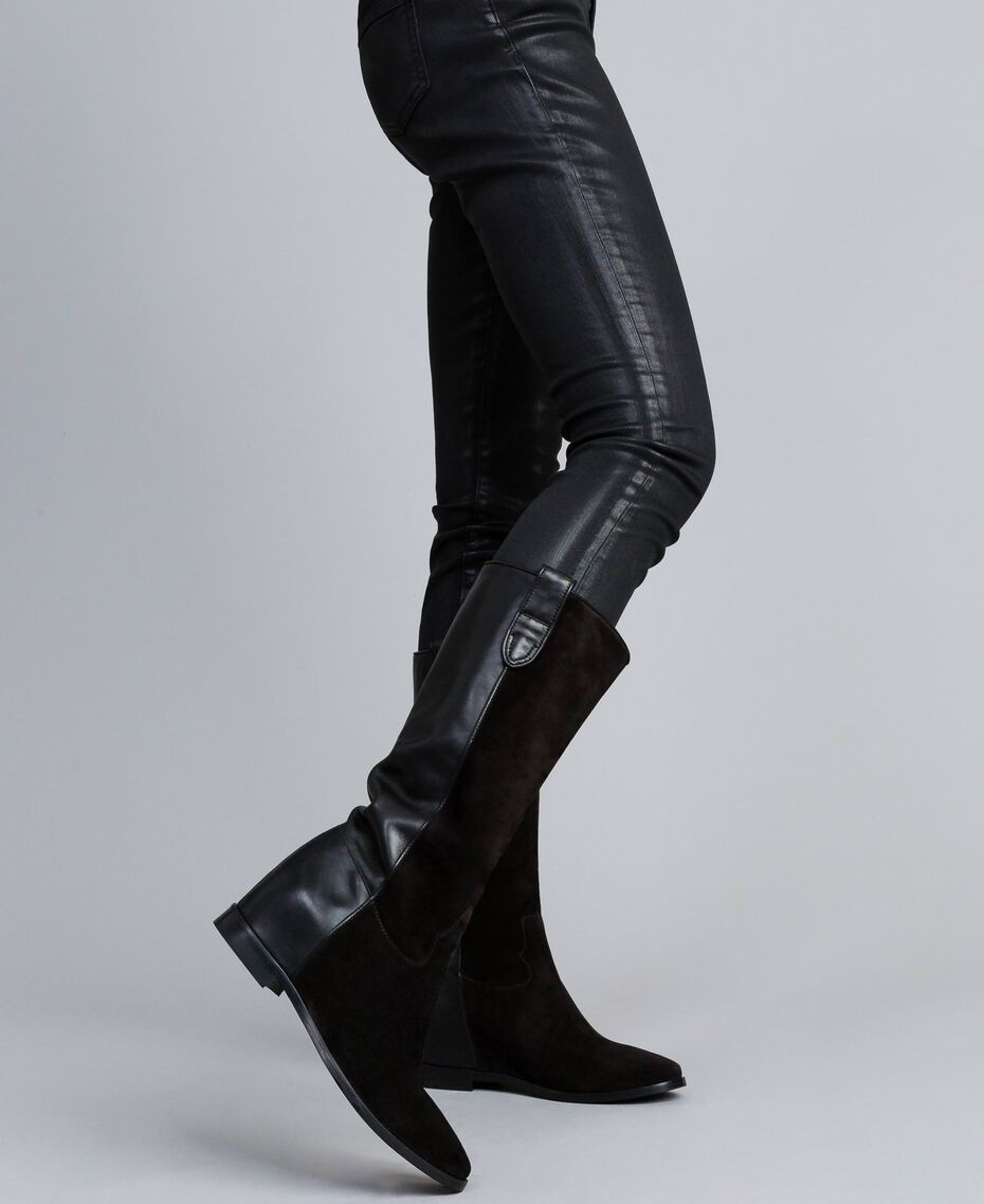 Stiefel aus Leder und Spaltleder mit Keilabsatz Schwarz Frau CA8TCE-0S