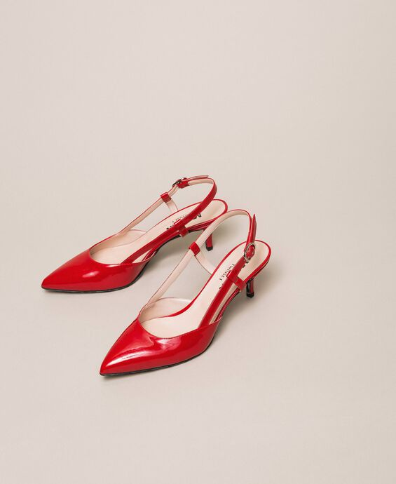Patent leather slingback court shoes