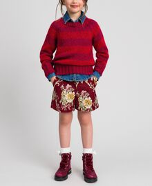 Zweifarbig gestreifter Pullover aus Mohair Jacquard Streifen Weinrubinrot / Rot Kind 192GJ3220-0T