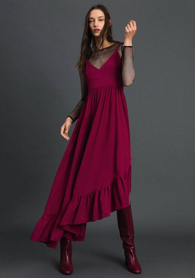 Асимметричное платье из смесового шелкового крепдешина