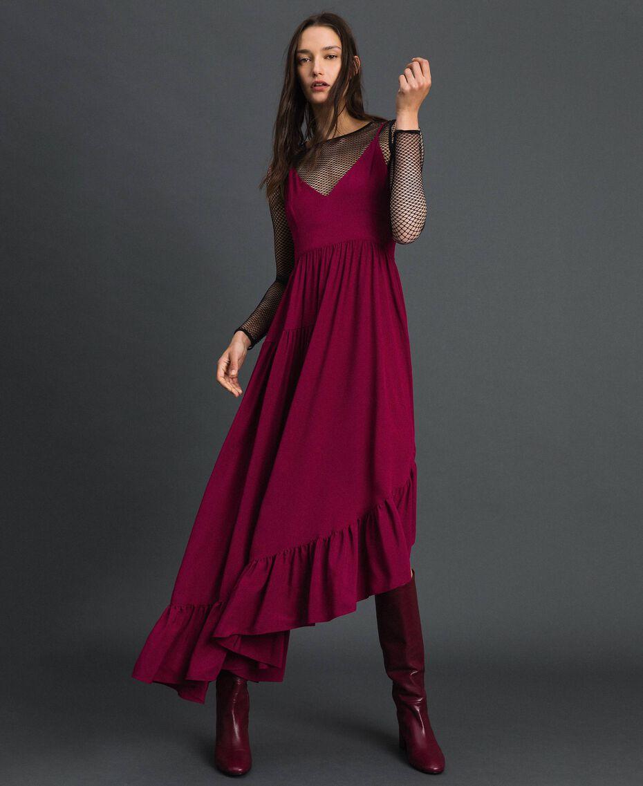 Asymmetrisches Kleid aus Crêpe de Chine aus Seidenmischung Rote-Bete-Rot Frau 192TP2384-01