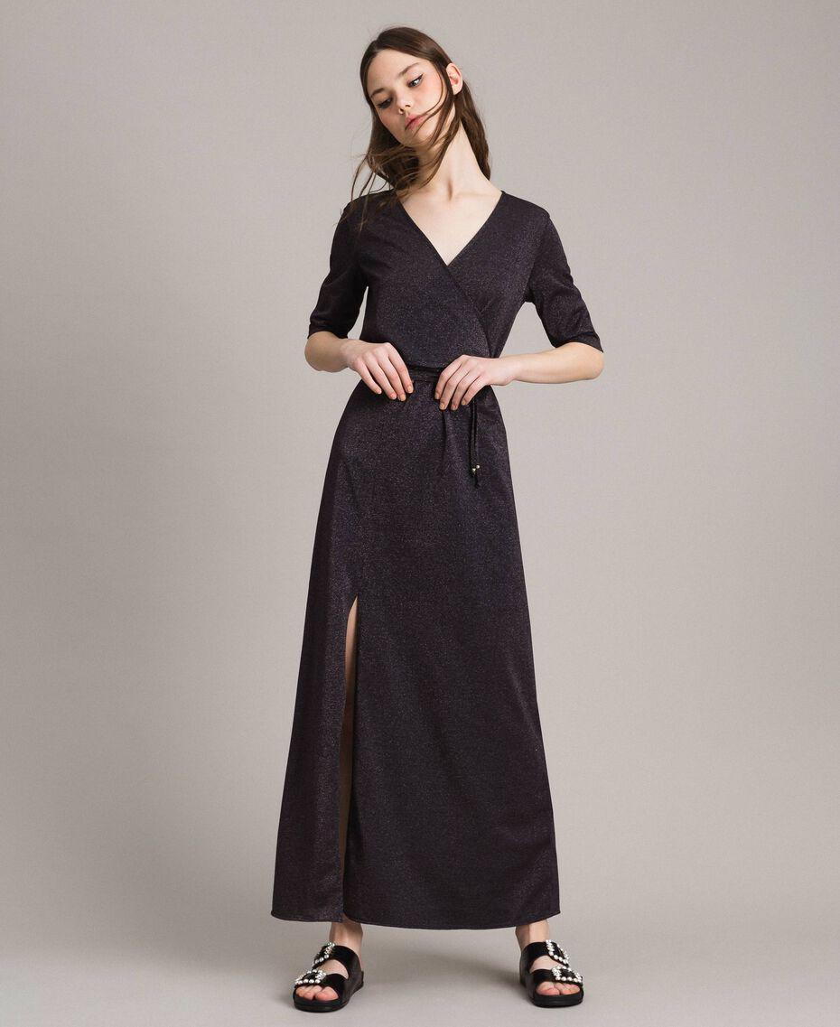 Lurex long dress with slit Black Woman 191LB23EE-01