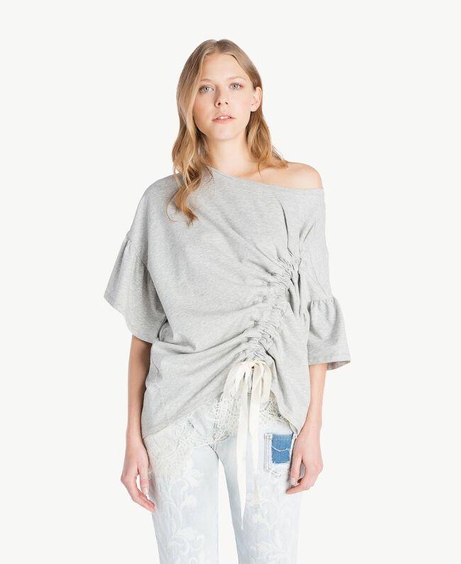 Sweatshirt aus Spitze Hellgrau-Mélange Frau YS82KA-01