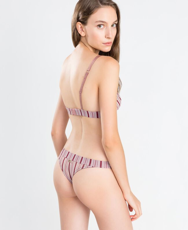 """Printed tulle and lace thong """"Baroque Rose"""" Pink Woman IA8D88-03"""