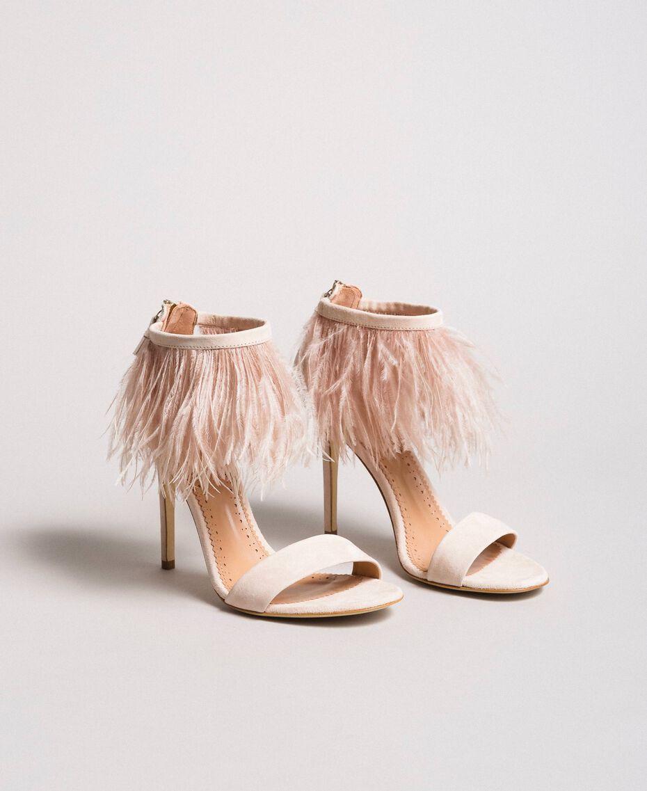 Sandali alti in pelle con piume Rosa Bocciolo Donna 191TCP210-01