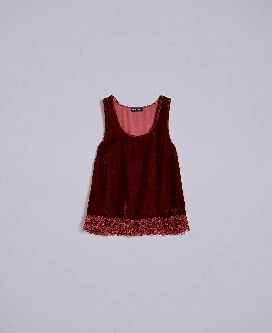 Velvet top Bordeaux Woman PA823D-0S