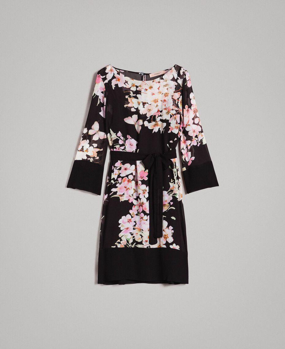"Floral print georgette tunic dress ""Peach Flowers"" Pink Black Print Woman 191TP271B-0S"