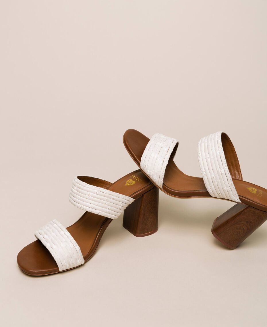 Mules with broderie anglaise bands Ivory Woman 201LMPZTT-02