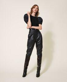 Wool blend jumper with taffeta sleeves Dark Royal Blue Woman 202TP3250-0T