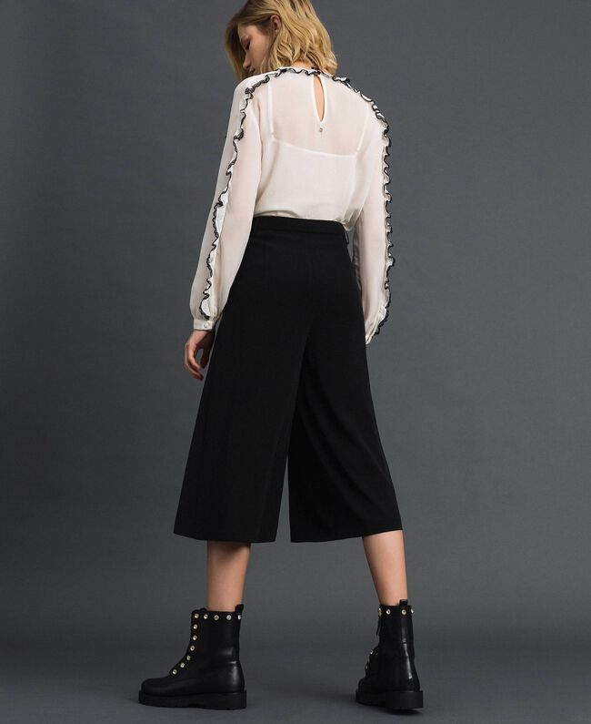 Trouser-skirt with pleats and logo Black Woman 192ST2164-03