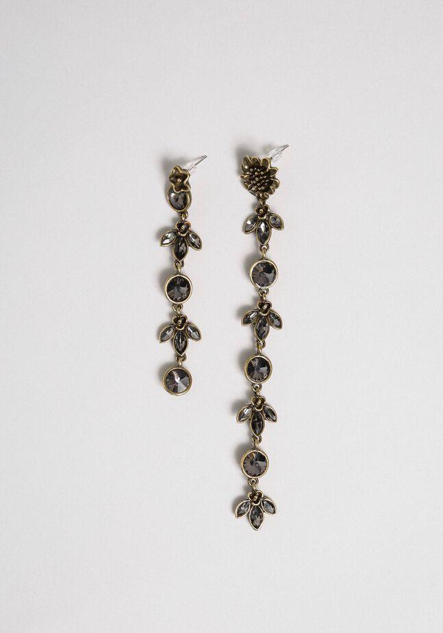 Boucles d'oreilles asymétriques avec fleurs et cabochons