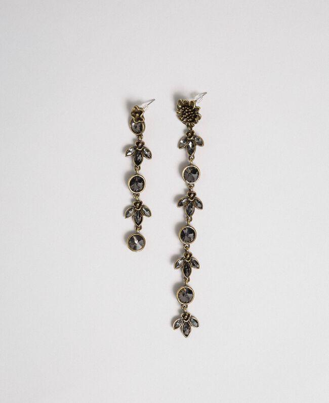 Asymmetrische Hängeohrringe mit Blumen und Chatons Black Diamond Schwarz Frau 192TO531A-01