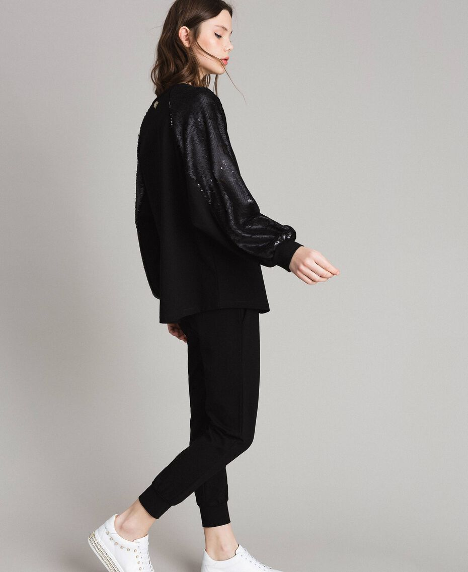 Jersey sweatshirt with sequins Black Woman 191LB22LL-02