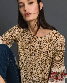Floral and animal print blouse Leopard Print Woman 192TP2742-04