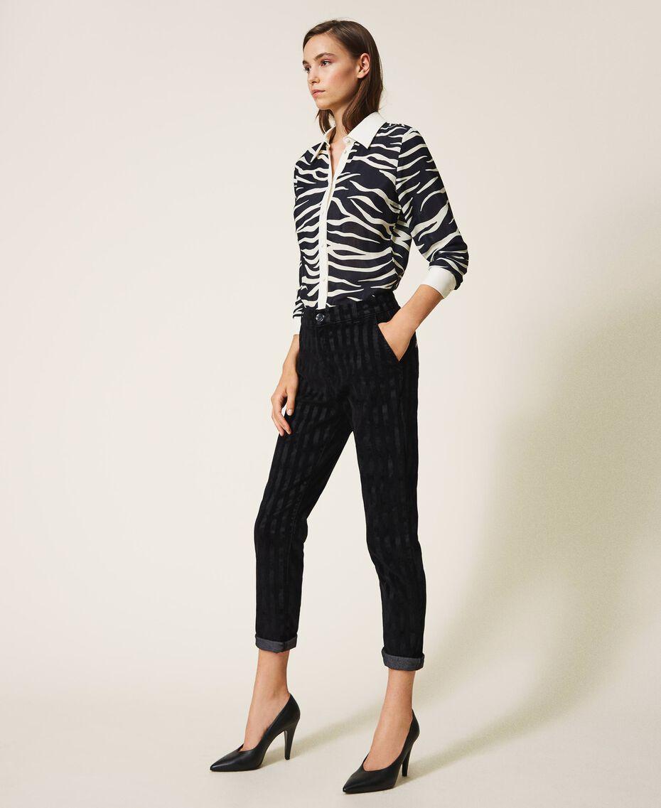 Pinstripe effect regular jeans Black Denim Woman 202MP2231-02