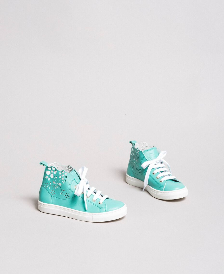"Nappa sneakers with perforated detail ""Island Paradise"" Light Blue Child 191GCJ172-02"