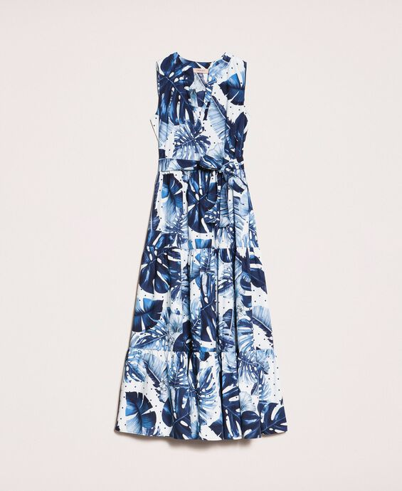 Printed poplin long dress