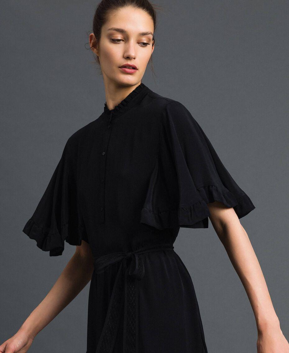 Kleid aus Crêpe de Chine aus Seidenmischung Schwarz Frau 192TP2261-02