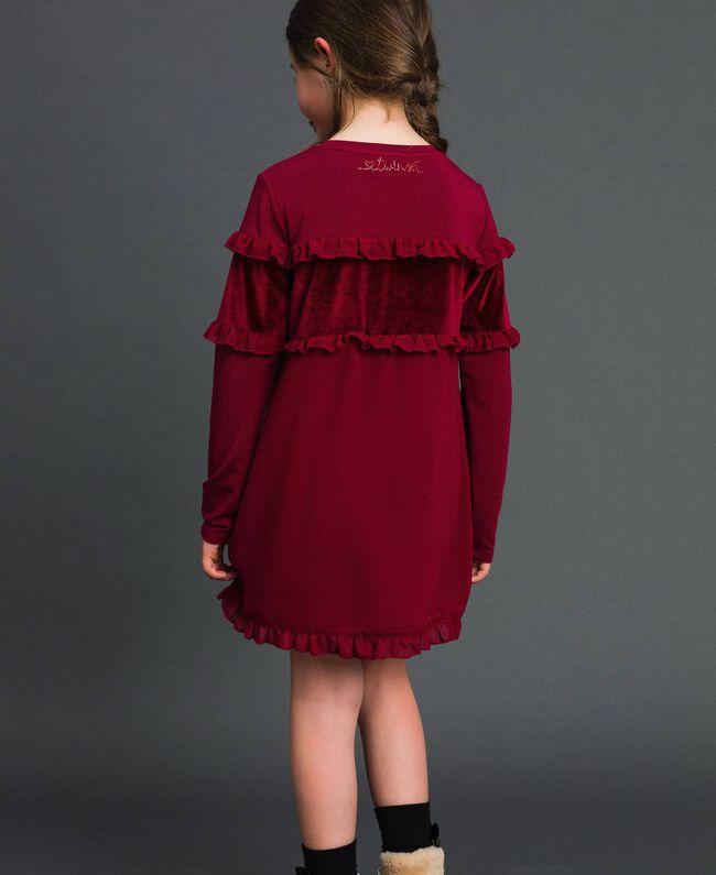 Kleid mit Samteinsatz und Rüschen Ruby Wine Rot Kind 192GJ2463-03