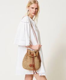 Weaved raffia bucket bag Straw Woman 211TD8241-0S