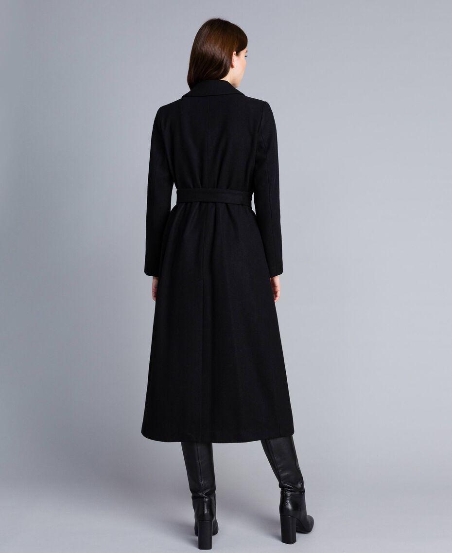 Langer, zweireihiger Mantel aus Tuch Schwarz Frau TA821L-05