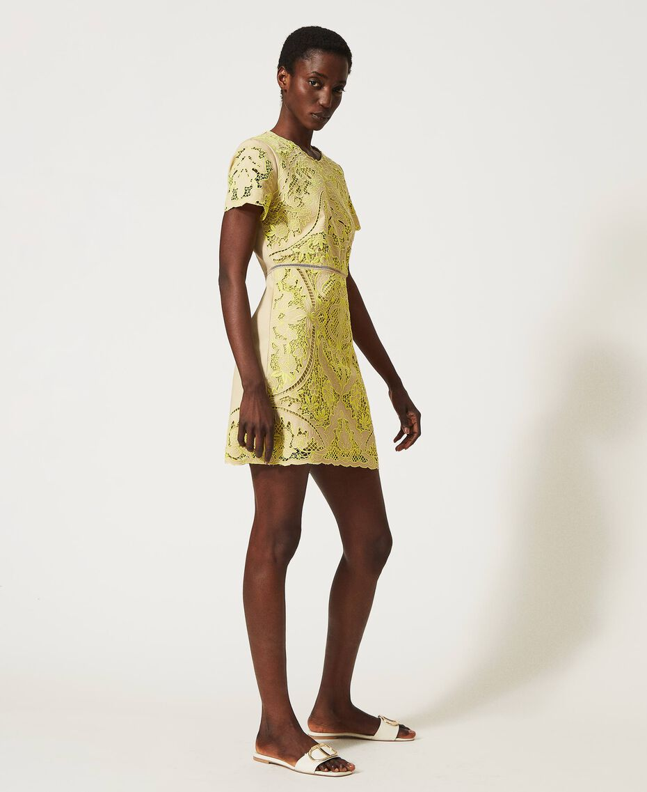 "Dress with broderie anglaise ""LED"" Yellow / ""Cuban Sand"" Brown Woman 211TT2090-03"
