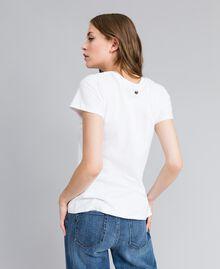 "Jersey t-shirt with rhinestone heart ""Ice"" White Woman JA82MQ-04"