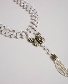 Pearl necklace with butterfly pendant Aged Brass Woman 192TA4360-02