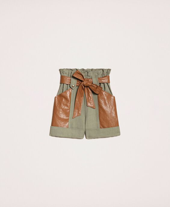 Canvas and faux leather shorts