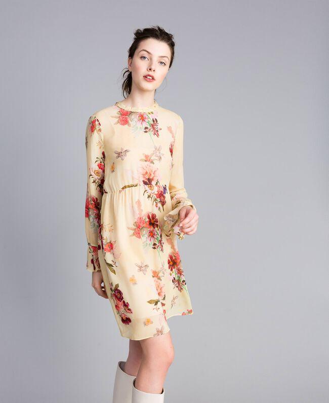 "Minikleid aus geblümtem Georgette Print ""Tea Garden"" Rosa Frau PA8271-01"