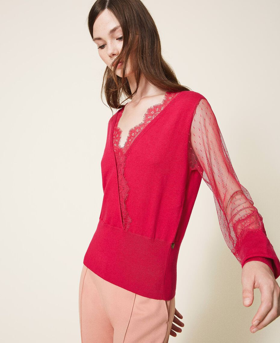 "Tulle and lace jumper ""Cerise"" Fuchsia Woman 202TP3381-02"
