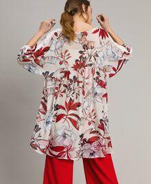 Tunikakleid aus Georgette mit Blumenprint Motiv Exotisch Ecru Frau 191ST2222-03