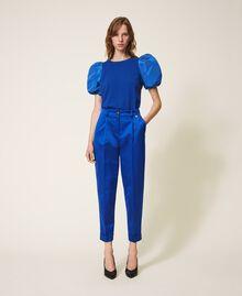 Pullover aus Wollmischung mit Taftärmeln Dunkles Kornblumenblau Frau 202TP3250-0T