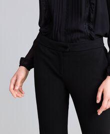 Pantalon cigarette en point de Milan Noir Femme PA8219-04