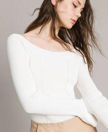 Pullover mit Streifendessin Weiß Schnee Frau 191TP3272-01