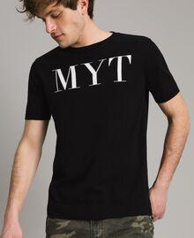 Krepp-Baumwoll-T-Shirt mit Logo Zweifarbig Schwarz / Deckweiß Mann 191UT3041-04