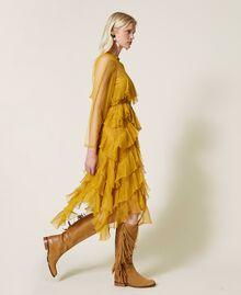 Pleated flounce tulle dress Saffron Yellow Woman 212TP2200-04