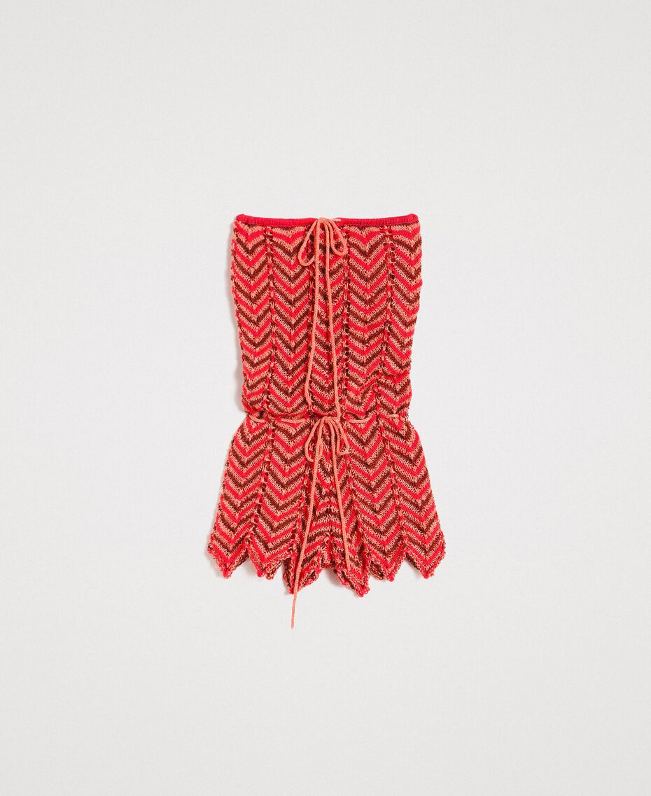 """Geknüpfter Lurex-Overall """"Framboise"""" Rot Frau 191LM3KCC-0S"""