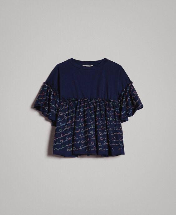 Blouse brodée en jersey et tulle avec logo