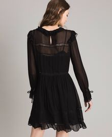Georgette and lace dress Black Woman 191TP2127-04