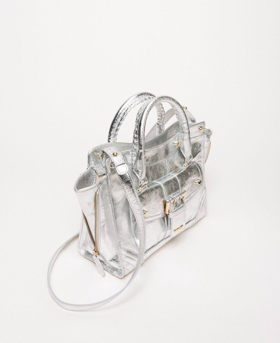 """Handtasche """"Rebel"""" aus Leder mit Tasche Grau Titan Frau 201TA723Z-03"""