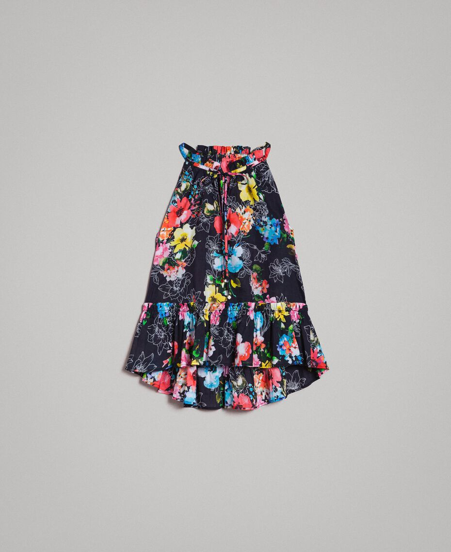 Oberteil mit Blumenprint und Volant All Over Black Multicolour Flowers Motiv Frau 191MT2292-0S