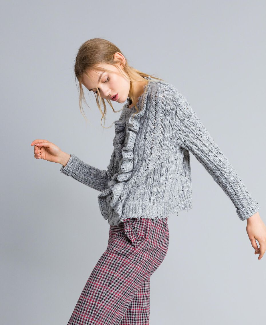 Tweed jumper with ruches Light Gray Mélange Woman SA83DA-02